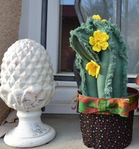 Atelier FLORAL/HOME DECO : Réaliser des Fleurs jaunes pour décorer un CACTUS en tissu, TUTORIEL