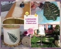 Atelier  HOME DECO / LUMINAIRE / RECYCLAGE : RESTAURER & PERSONNALISER au POCHOIR un ANCIEN ABAT JOUR  - DIY, TUTORIEL