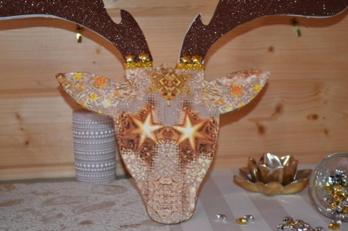 ATELIER de NOEL - FESTIF : DECORATION AMBIANCE SCANDINAVE en bois Tête Trophée ELAN, TUTORIEL