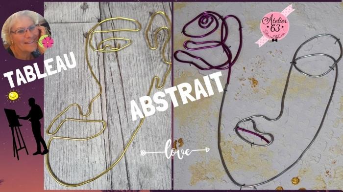 Atelier PEINTURE FACILE - ART ABSTRAIT : tableau DECO Tendance Minimaliste ART DECO avec Pâte de structure, pochoir et Fil Alu ,  VIDEO