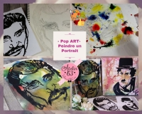Atelier PEINTURE FACILE : Peindre avec la  TECHNIQUE du POP ART  un Portrait d'un homme célèbre ou artiste (CHARLOT) (JOHNNY), TUTORIEL