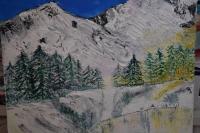 Atelier Peinture Facile : Réaliser un tableau à l'acrylique, PEINDRE un PAYSAGE HAUTE MONTAGNE, avec reflets sur un LAC GELE , VIDEO