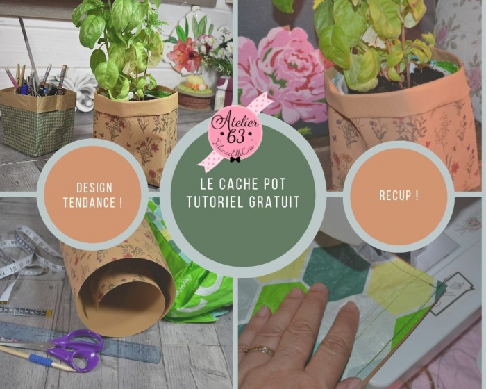Atelier SCRAP DECO : Réaliser un CACHE POT TENDANCE en papier Imitation Cuir, VIDEO