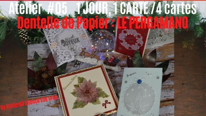 ATELIER VLOGMAS #05 - 17, 18, 19, et 20 Décembre 2020 - Un jour = Une Carte , 1ERE CARTE  Le PERGAMANO : BOULE et TRANSPARENCE, 2EME CARTE Le PERGAMANO  : TAMPON EMBOSSAGE ENCRAGE POINSETTIA , 3EME CARTE  Le PERGAMANO  : TAMPON  EMBOSSAGE TEXTE MATRICE, 4EME CARTE Le PERGAMANO  : GRILLE COURONNE  TUTORIEL