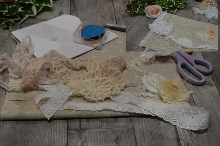 BLOC NOTES : FICHES PRODUITS pour Création POCHETTE textile  Shabby Chic , recyclage restes de tissu et dentelle TUTO