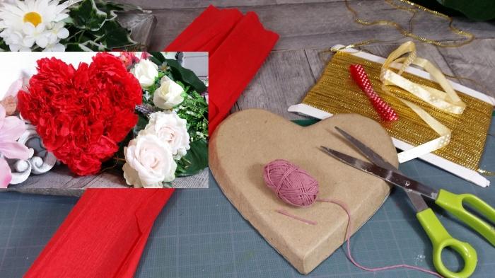 BLOC NOTES : FICHES PRODUITS pour Fabriquer un COEUR DECO rempli de Fleurs Rouges en papier  pour la ST VALENTIN - DIY, TUTORIEL