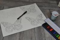 BLOC NOTES : FICHES PRODUITS pour réalisation PAPILLONS Aquarelle et Vernis Porcelaine , TUTORIEL
