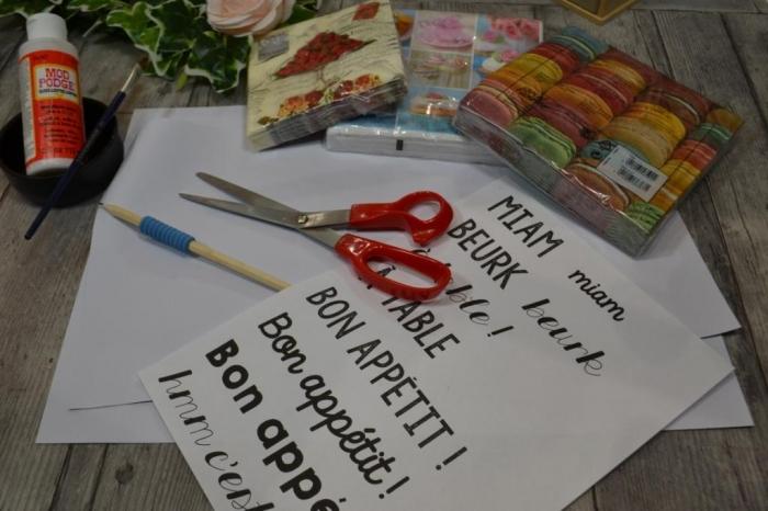 BLOC NOTES : FICHES PRODUITS pour réalisation SET DE TABLE en PAPIER , Déco en serviette en Papier, TUTO