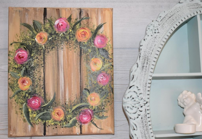 ATELIER PEINTURE FACILE : Peindre un trompe l'oeil à l'éponge : COURONNE de FLEURS sur planches de bois, VIDEO