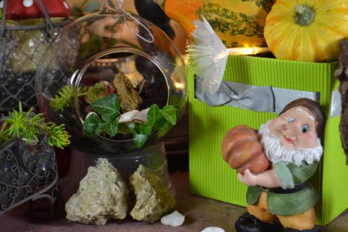 Décoration d'automne, mini jardin façon terrarium