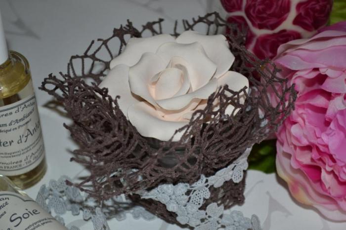 Durcisseur Textile Art Déco : Support Rose en plâtre & Parfum d'Ambiance !