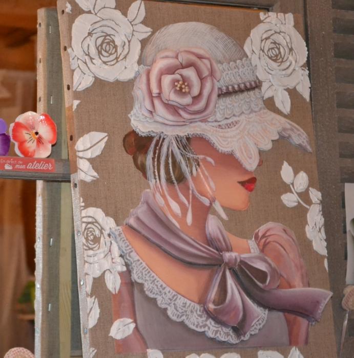 ATELIER HOME DECO :  TABLEAU 3D image Rétro FEMME &Chapeau de Dentelle, TUTORIEL