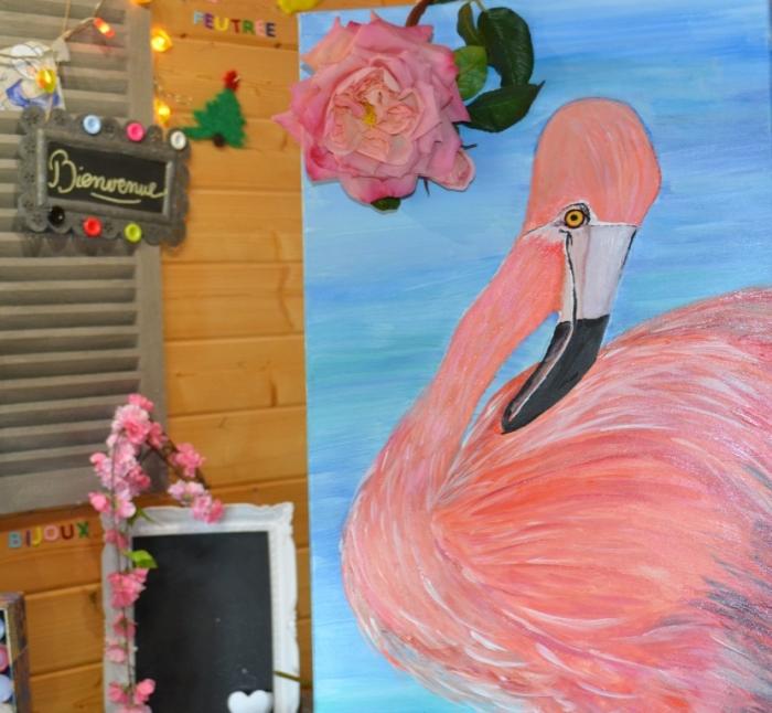 Peindre un flamand rose en acrylique, vidéo